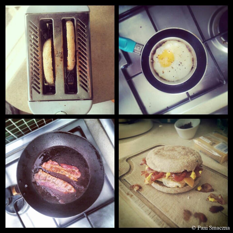 Śniadaniowe bułki z jajkiem sadzonym i boczkiem (a'la McDonald's)